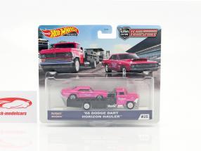 Set Team Transport: Dodge Dart 1968 & Horizon Hauler 1:64 HotWheels