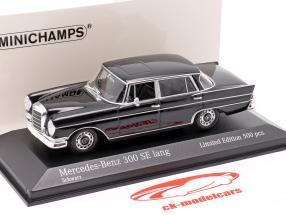 Mercedes-Benz 300 SE largo (W112) Heckflosse Año de construcción 1963 negro 1:43 Minichamps