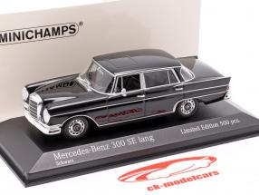 Mercedes-Benz 300 SE longue (W112) Heckflosse Année de construction 1963 noir 1:43 Minichamps