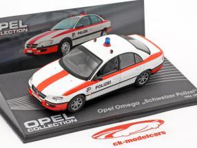 Opel Omega schweiziske politi År 1994-1998 hvid / rød 1:43 Altaya
