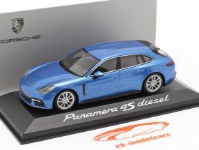 Porsche Panamera 4S Diesel blauw metalen 1:43 Minichamps