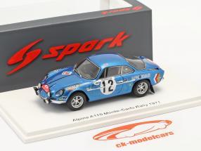 Alpine A110 #12 8. plads Rallye Monte Carlo 1971 Darniche, Robertet 1:43 Spark