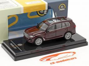 BMW X7 (G07) LHD Ano de construção 2019 ametrine vermelho metálico 1:64 Paragon Models