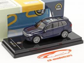 BMW X7 (G07) LHD Ano de construção 2019 tanzanite azul 1:64 Paragon Models