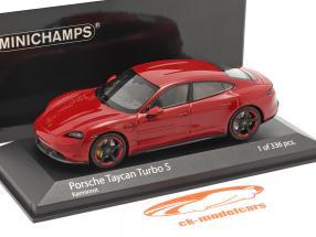 Porsche Taycan Turbo S Baujahr 2020 karminrot 1:43 Minichamps
