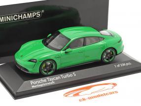 Porsche Taycan Turbo S Byggeår 2020 mamba grøn metallisk 1:43 Minichamps