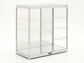 Einzelvitrine mit LED-Beleuchtung und Spiegel für Maßstab 1:24 silber Triple9