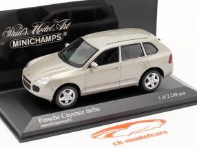 Porsche Cayenne Turbo Jaar 2002 beige 1:43 Minichamps