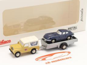 3-Car Set Land Rover met Aanhangwagen en Jaguar E-Type 1:90 Schuco Piccolo