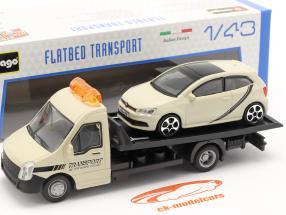 VW Polo GTI con transporter Flatbed crema bianco 1:43 Bburago