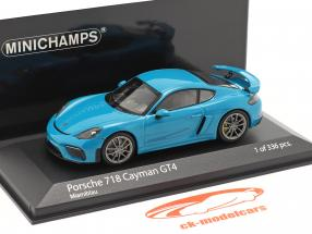 Porsche 718 (982) Cayman GT4 year 2020 miami blue 1:43 Minichamps