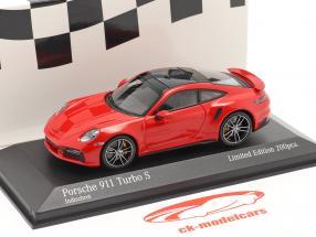 Porsche 911 (992) Turbo S 2020 bewakers rood / zilver velgen 1:43 Minichamps