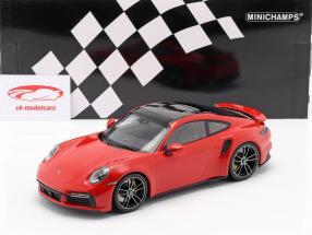 Porsche 911 (992) Turbo S Ano de construção 2020 guardas vermelho 1:18 Minichamps