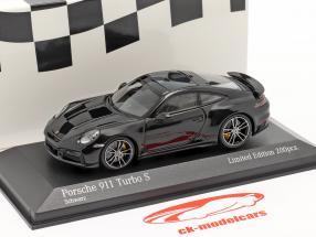 Porsche 911 (992) Turbo S 2020 black / silver rims 1:43 Minichamps