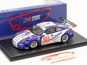 Porsche 911 GT3 RSR n º 70 Labre segunda classe GTE AM 24h Le Mans 2011 1:43 faísca