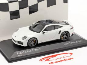 Porsche 911 (992) Turbo S 2020 Branco / prata aros 1:43 Minichamps