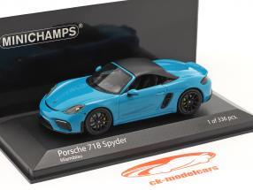 Porsche 718 (982) Boxster Spyder Año de construcción 2020 Miami azul 1:43 Minichamps