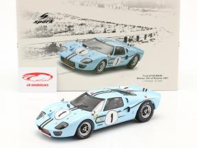 Ford GT40 MK2B #1 gagnant 12h Reims 1967 Ligier, Schlesser 1:18 Spark