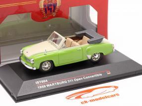 Wartburg 311 Cabrio anno 1959 verde / cremoso bianca 1:43 IST-Models