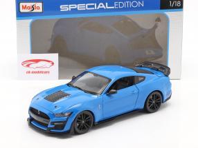 Ford Mustang Shelby GT500 Année de construction 2020 bleu 1:18 Maisto