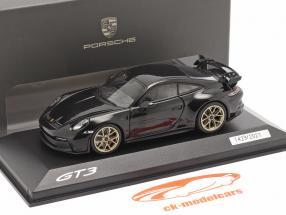 Porsche 911 (992) GT3 Année de construction 2021 noir profond métallique 1:43 Minichamps