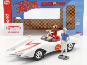 Speed Racer Mach 5 Med tegn TV-animationsserie (1966-68) hvid 1:18 AutoWorld