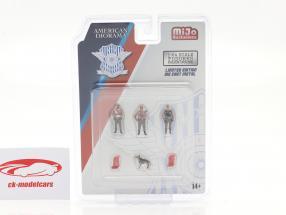 Polizia Stradale Set di figure Con cane 1:64 American Diorama