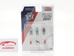 Metropolitan Police Set di figure Con cane 1:64 American Diorama