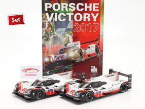 2-Car Set Con Libro: Porsche 919 Hybrid #1 #2 vincitore 24h LeMans 2017 1:18 Ixo