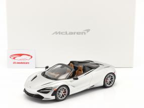 McLaren 720S Spider Baujahr 2019 supernova silber mit Vitrine 1:18 Spark