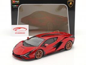 Lamborghini Sian FKP 37 Año de construcción 2019 rojo / negro 1:18 Bburago
