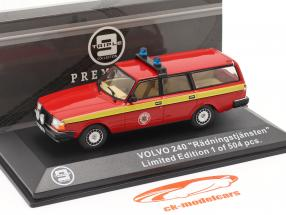 Volvo 240 fire Department Mora (Sweden) 1983 red / yellow 1:43 Triple9