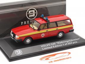 Volvo 240 pompiers Mora (Suède) 1983 rouge / jaune 1:43 Triple9