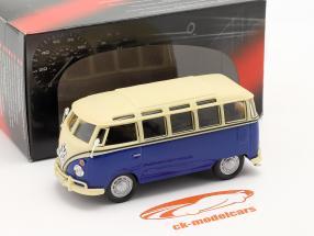 Volkswagen VW T1 Samba Bus azul / blanco 1:43 Cararama