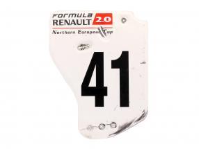 original Ala trasera Placa final #41 fórmula Renault 2.0 / ca. 36 x 47 cm