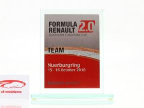 Tazza di vetro formula Renault 2.0 NEC squadra Premio Renault Sport Nürburgring 2010