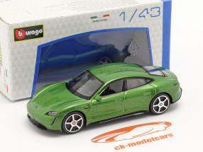 Porsche Taycan Turbo S Ano de construção 2019 verde metálico 1:43 Bburago