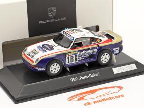 Porsche 959 #186 ganador Rallye Paris - Dakar 1986 Metge, Lemoyne 1:43 Spark