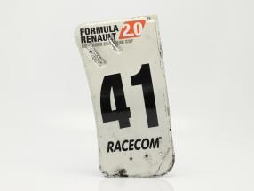 original L'aile arrière Plaque d'extrémité #41 formule Renault 2.0 / ca. 24 x 52 cm