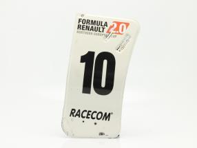 original Asa traseira Placa final #10 Fórmula Renault 2.0 / ca. 24 x 52 cm