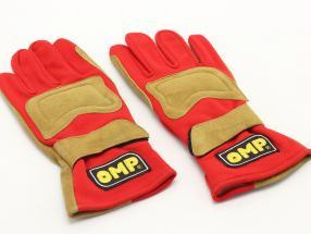1 Pair Motorsport gloves / Driver gloves size L red / light brown OMP