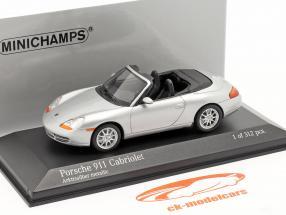 Porsche 911 (996) Cabriolet ano 1998 prata 1:43 Minichamps