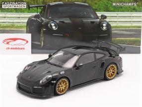 Porsche 911 (991 II) GT2 RS Weissach Package 2018 Preto / dourado aros 1:18 Minichamps