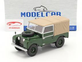 Land Rover Series I RHD Byggeår 1957 mørkegrøn / beige 1:18 Model Car Group