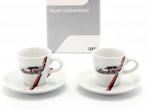 Espresso xícaras Heritage (definir de 2) Audi quattro S1 #1 vencedora Pikes Peak 1987