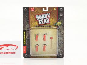 Fire extinguisher Set (4 pieces) with axe 1:24 Hobbygear