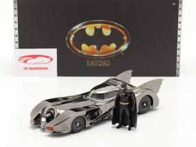 Batmobiel met figuur Film Batman (1989) zwart verchroomd 1:24 Jada Toys