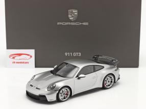 Porsche 911 (992) GT3 2021 Argent GT métallique avec Vitrine 1:18 Minichamps