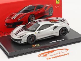 Ferrari 488 Pista Année de construction 2018 argent métallique 1:43 Bburago