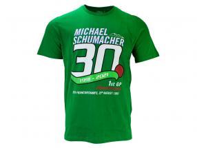 Michael Schumacher T-Shirt Eerst formule 1 GP Spa 1991 groente